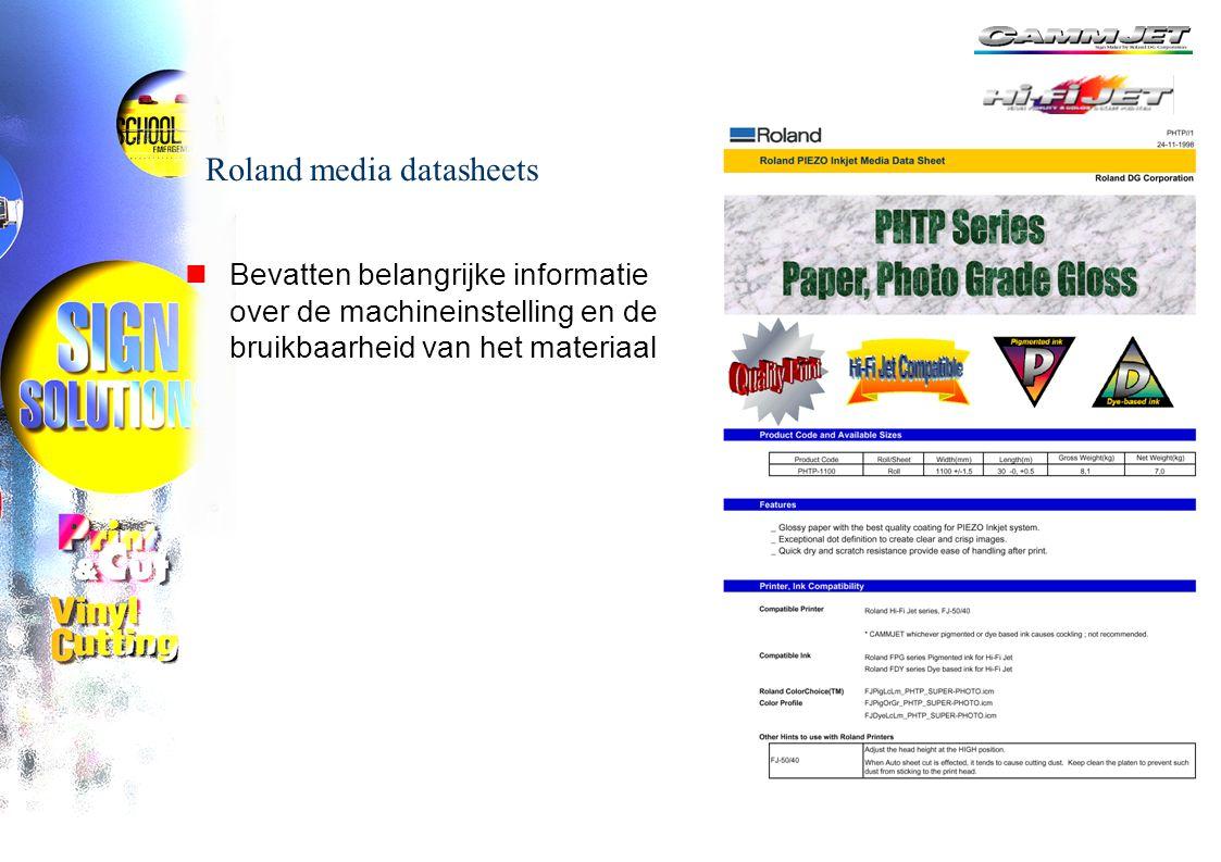 Änderungen der technischen Daten ohne vorherige Ankündigung jederzeit vorbehalten Roland media datasheets nBevatten belangrijke informatie over de machineinstelling en de bruikbaarheid van het materiaal