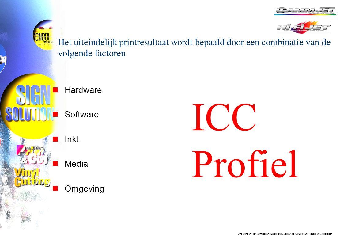 Änderungen der technischen Daten ohne vorherige Ankündigung jederzeit vorbehalten Het uiteindelijk printresultaat wordt bepaald door een combinatie van de volgende factoren nHardware nSoftware nInkt nMedia nOmgeving ICC Profiel
