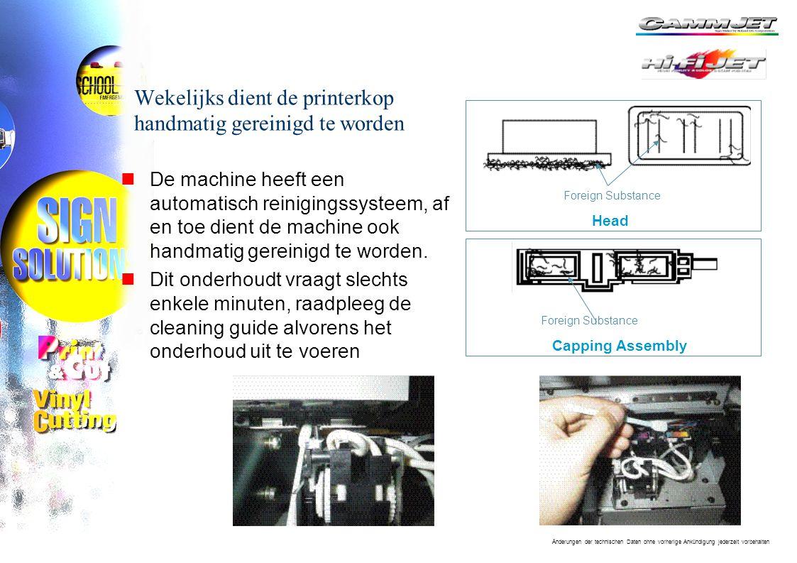 Änderungen der technischen Daten ohne vorherige Ankündigung jederzeit vorbehalten Wekelijks dient de printerkop handmatig gereinigd te worden nDe machine heeft een automatisch reinigingssysteem, af en toe dient de machine ook handmatig gereinigd te worden.