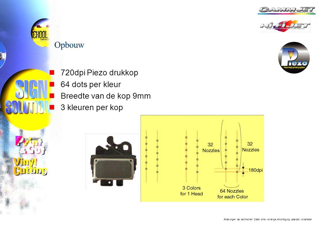 Änderungen der technischen Daten ohne vorherige Ankündigung jederzeit vorbehalten Opbouw n720dpi Piezo drukkop n64 dots per kleur nBreedte van de kop 9mm n3 kleuren per kop