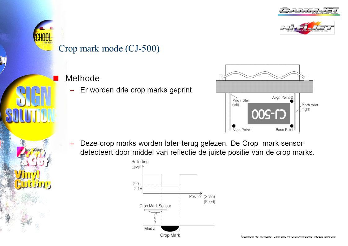 Änderungen der technischen Daten ohne vorherige Ankündigung jederzeit vorbehalten Crop mark mode (CJ-500) nMethode –Er worden drie crop marks geprint –Deze crop marks worden later terug gelezen.
