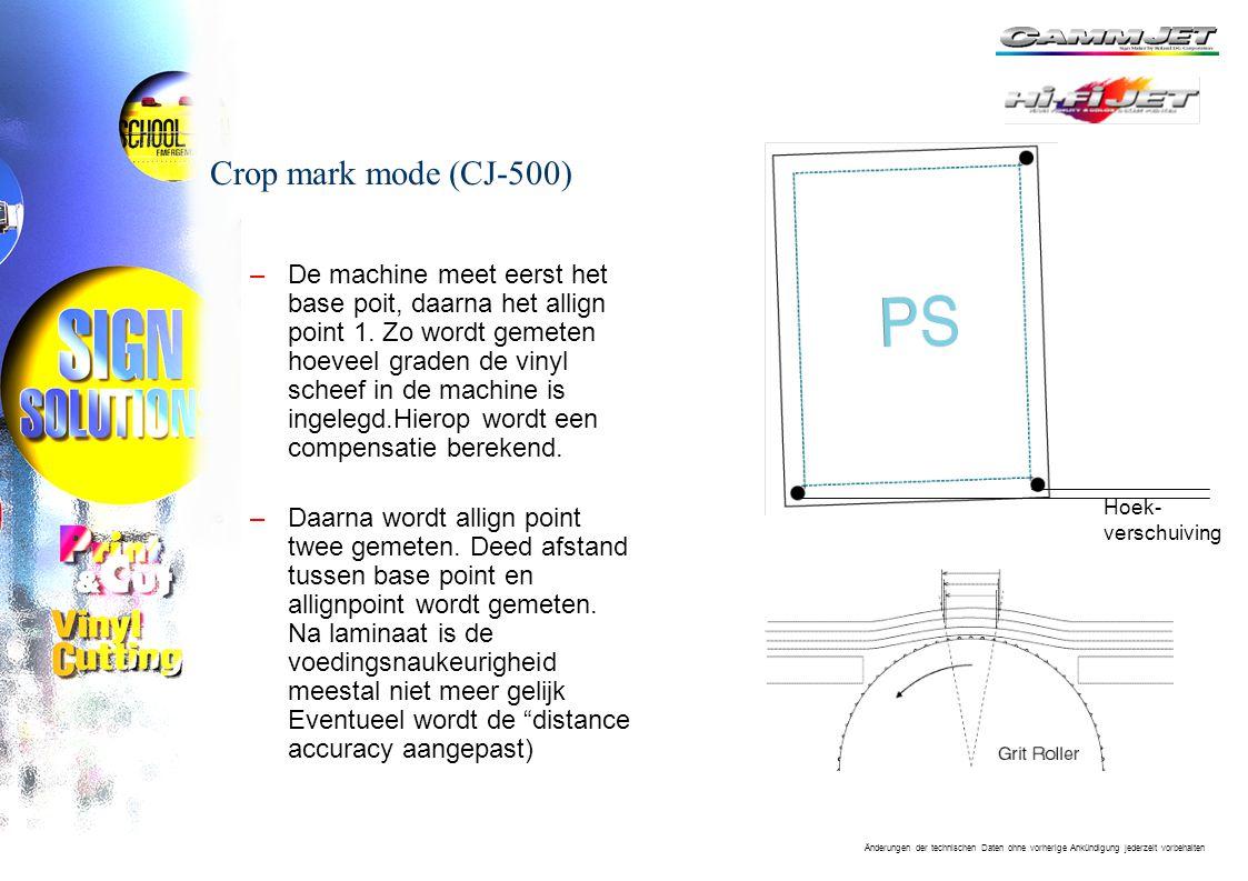 Änderungen der technischen Daten ohne vorherige Ankündigung jederzeit vorbehalten Crop mark mode (CJ-500) –De machine meet eerst het base poit, daarna het allign point 1.