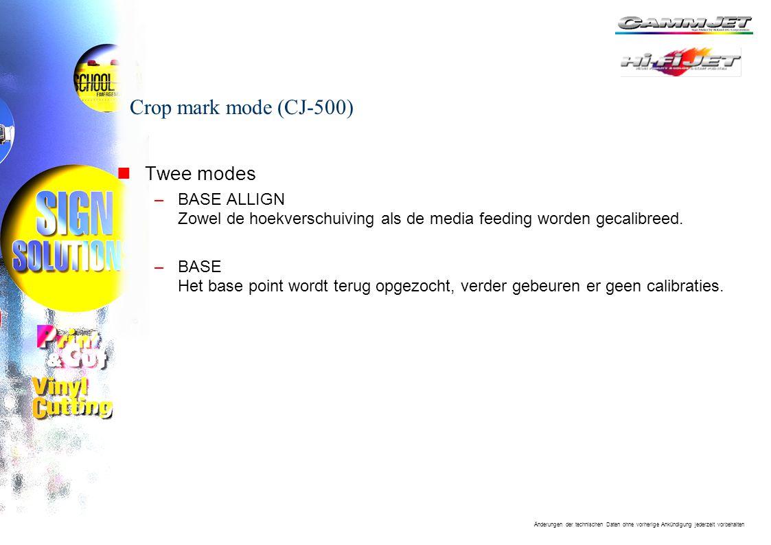 Änderungen der technischen Daten ohne vorherige Ankündigung jederzeit vorbehalten Crop mark mode (CJ-500) nTwee modes –BASE ALLIGN Zowel de hoekverschuiving als de media feeding worden gecalibreed.