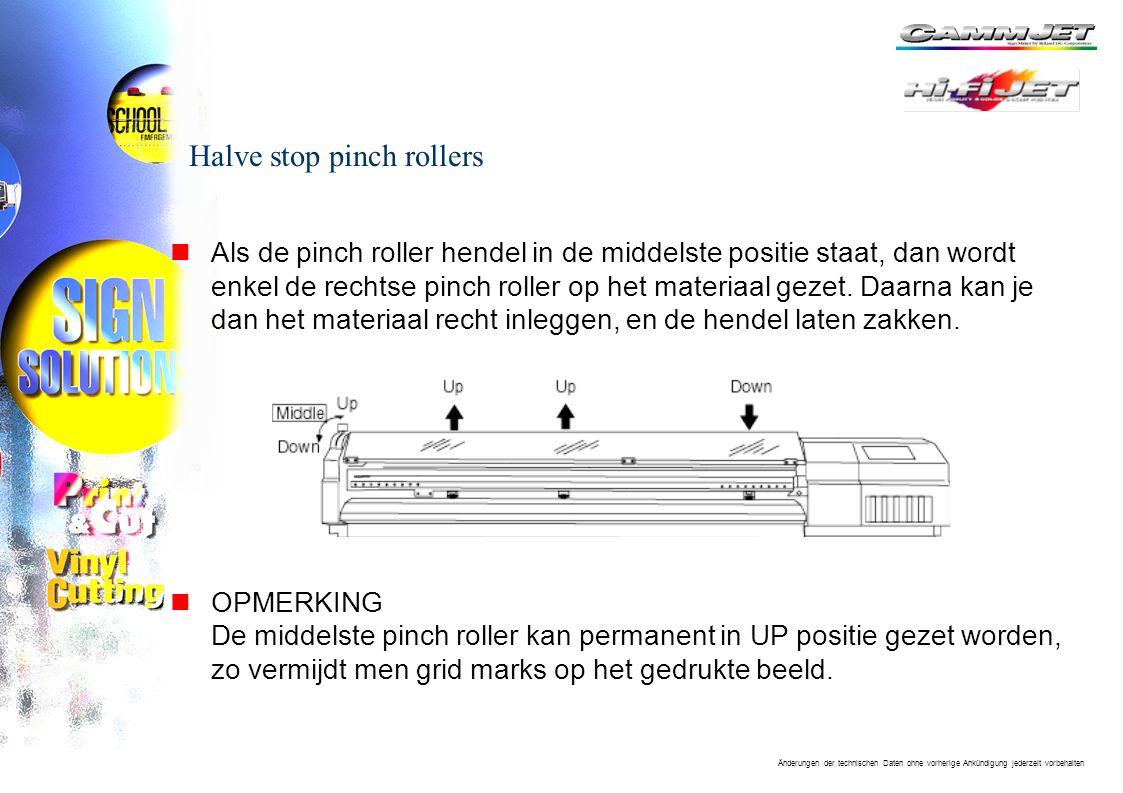 Änderungen der technischen Daten ohne vorherige Ankündigung jederzeit vorbehalten Halve stop pinch rollers nAls de pinch roller hendel in de middelste positie staat, dan wordt enkel de rechtse pinch roller op het materiaal gezet.