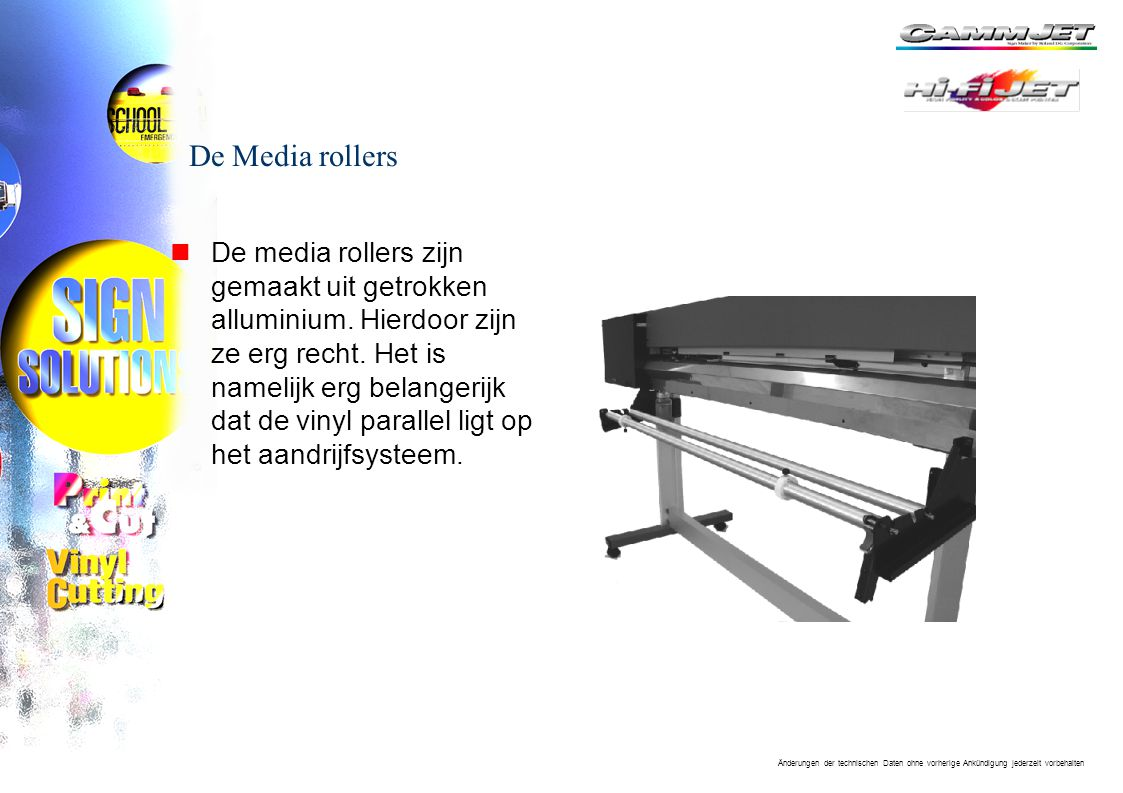 Änderungen der technischen Daten ohne vorherige Ankündigung jederzeit vorbehalten De Media rollers nDe media rollers zijn gemaakt uit getrokken alluminium.