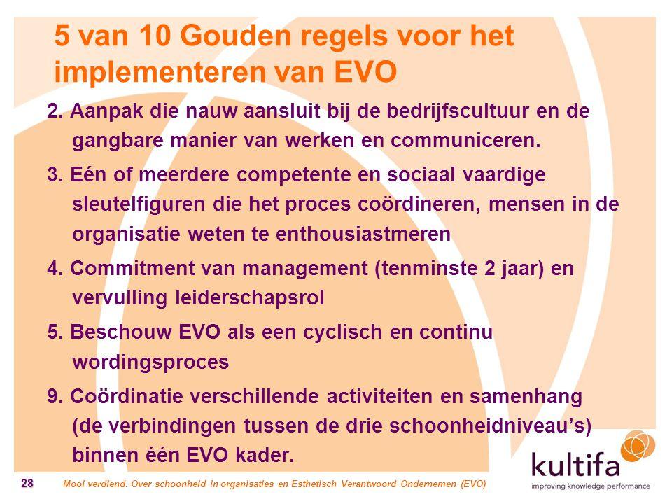 Mooi verdiend. Over schoonheid in organisaties en Esthetisch Verantwoord Ondernemen (EVO) 28 5 van 10 Gouden regels voor het implementeren van EVO 2.