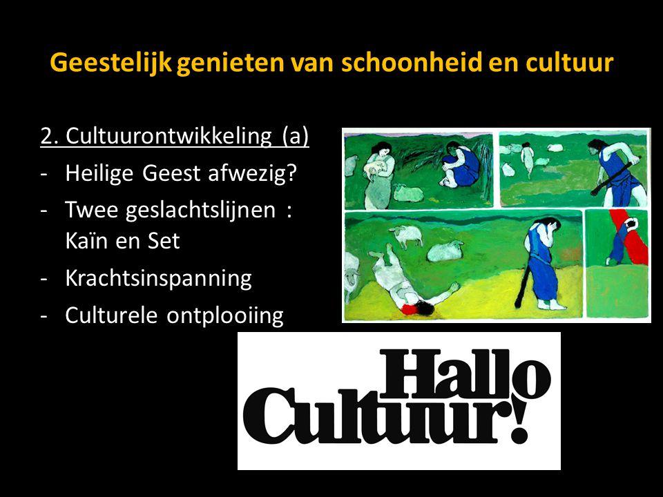Geestelijk genieten van schoonheid en cultuur 2. Cultuurontwikkeling (a) -Heilige Geest afwezig? -Twee geslachtslijnen : Kaïn en Set -Krachtsinspannin