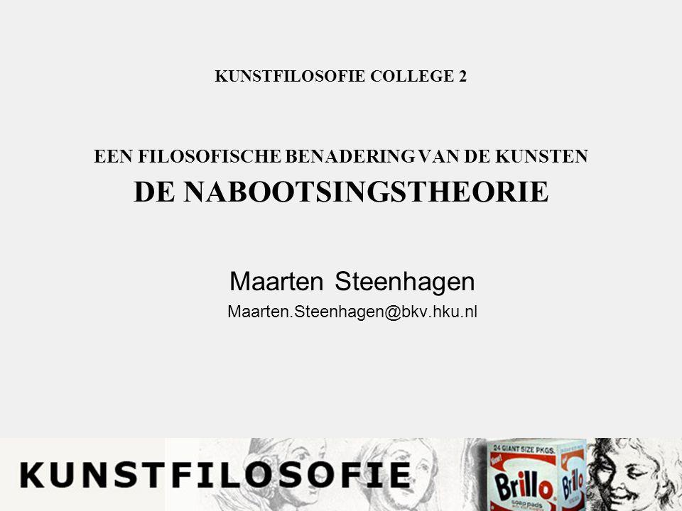 KUNSTFILOSOFIE COLLEGE 2 EEN FILOSOFISCHE BENADERING VAN DE KUNSTEN DE NABOOTSINGSTHEORIE Maarten Steenhagen Maarten.Steenhagen@bkv.hku.nl