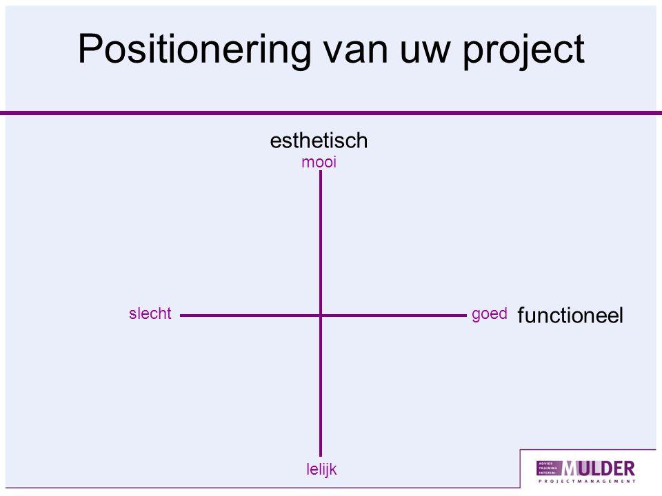 Positionering van uw project slechtgoed lelijk mooi functioneel esthetisch
