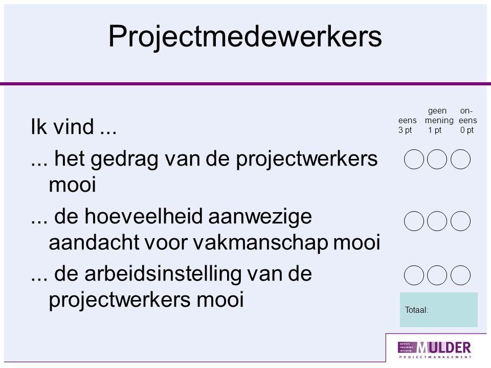 Projectmedewerkers Ik vind...... het gedrag van de projectwerkers mooi...