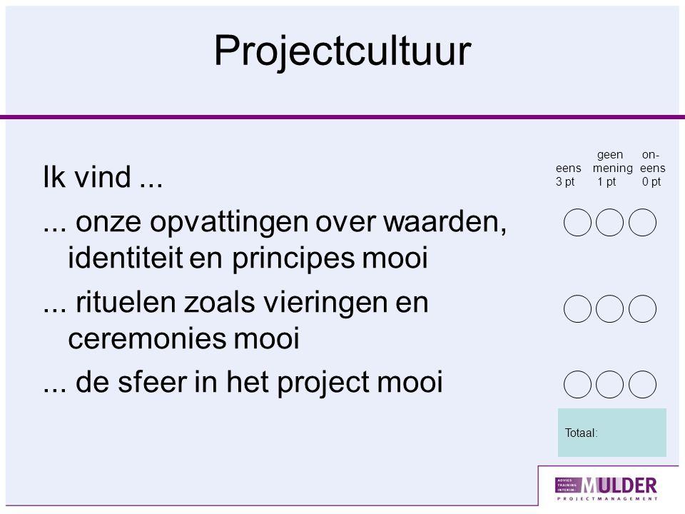 Projectcultuur Ik vind...... onze opvattingen over waarden, identiteit en principes mooi...