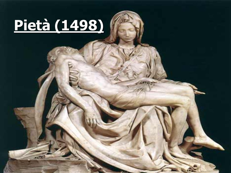 4.1.1.Pietà (1498) Dit beeldhouwwerk is te bewonderen in Sint Peter Basiliek in Rome.