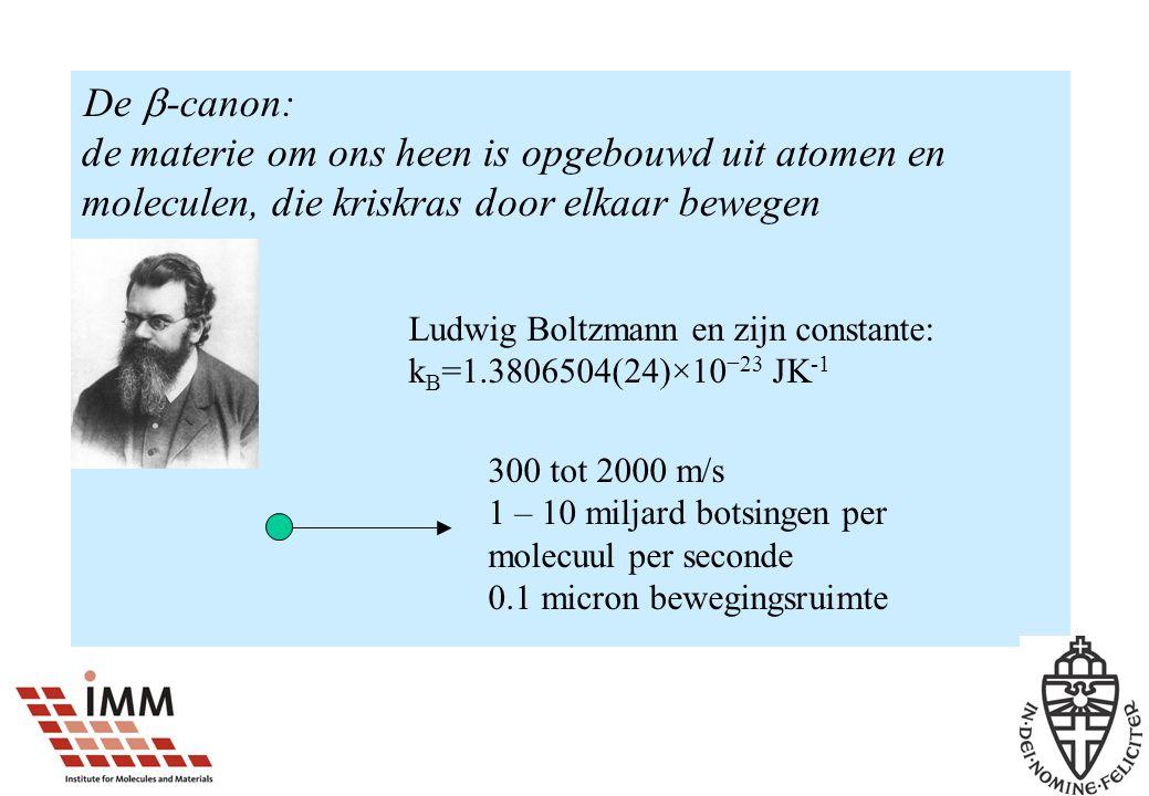 De  -canon: de materie om ons heen is opgebouwd uit atomen en moleculen, die kriskras door elkaar bewegen Ludwig Boltzmann en zijn constante: k B =1.3806504(24)×10 −23 JK -1 300 tot 2000 m/s 1 – 10 miljard botsingen per molecuul per seconde 0.1 micron bewegingsruimte