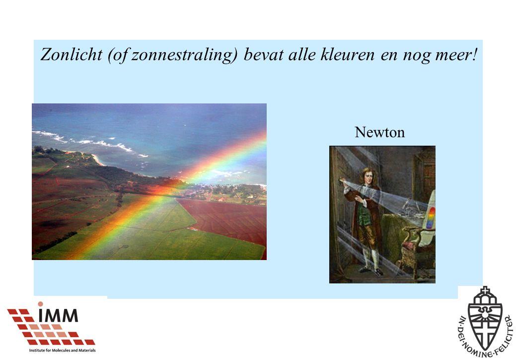 Zonlicht (of zonnestraling) bevat alle kleuren en nog meer! Newton