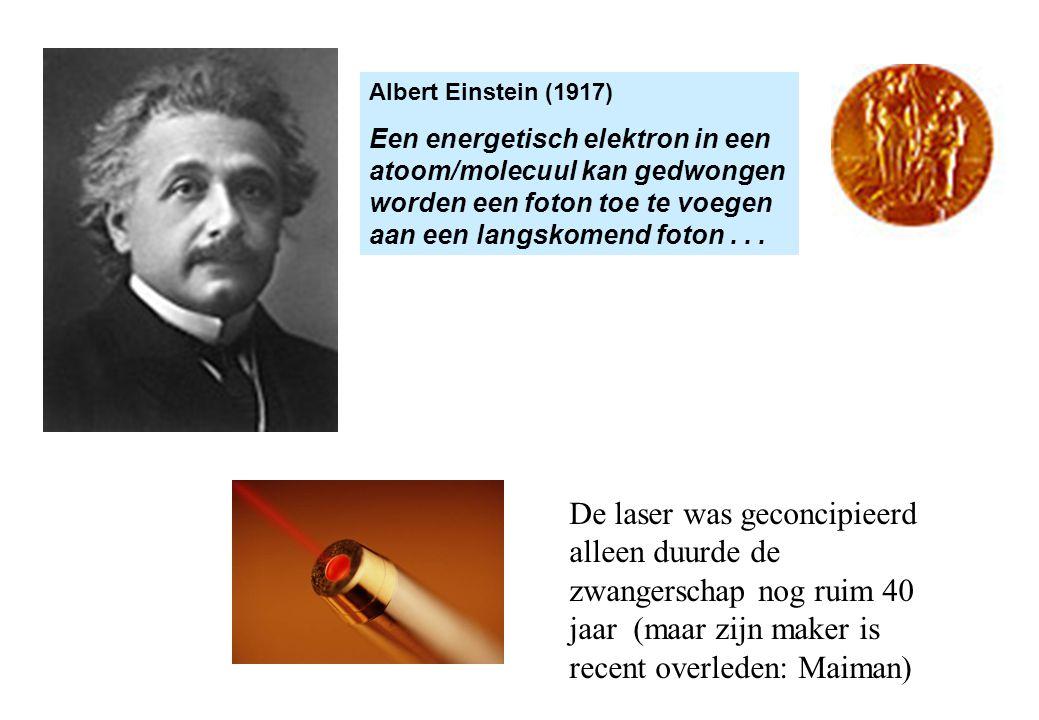 Albert Einstein (1917) Een energetisch elektron in een atoom/molecuul kan gedwongen worden een foton toe te voegen aan een langskomend foton...