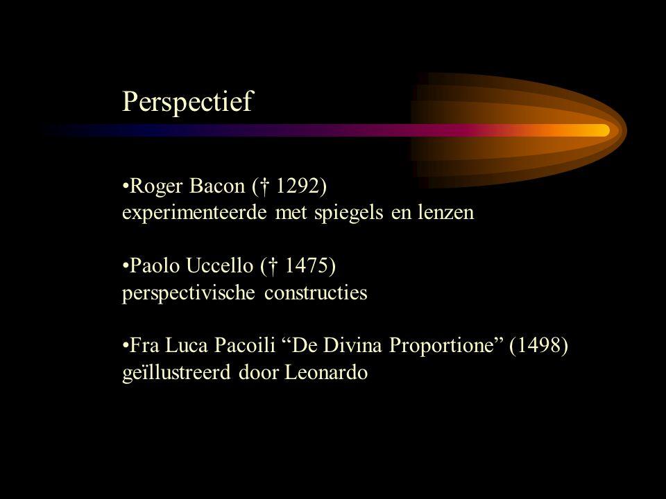 Perspectief Roger Bacon († 1292) experimenteerde met spiegels en lenzen Paolo Uccello († 1475) perspectivische constructies Fra Luca Pacoili De Divina Proportione (1498) geïllustreerd door Leonardo