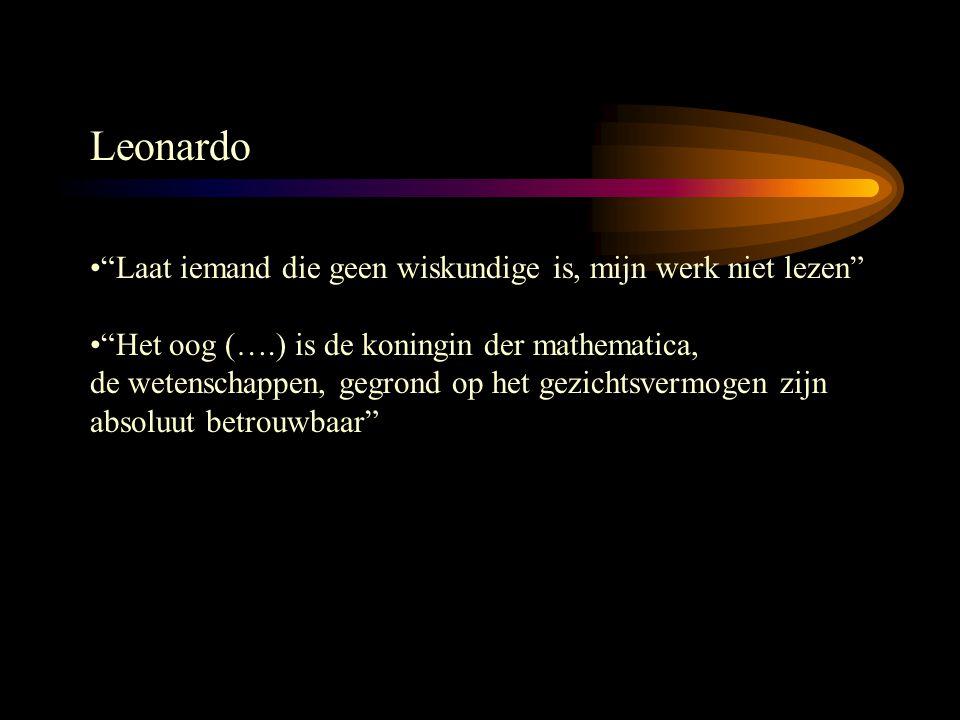 """Leonardo """"Laat iemand die geen wiskundige is, mijn werk niet lezen"""" """"Het oog (….) is de koningin der mathematica, de wetenschappen, gegrond op het gez"""