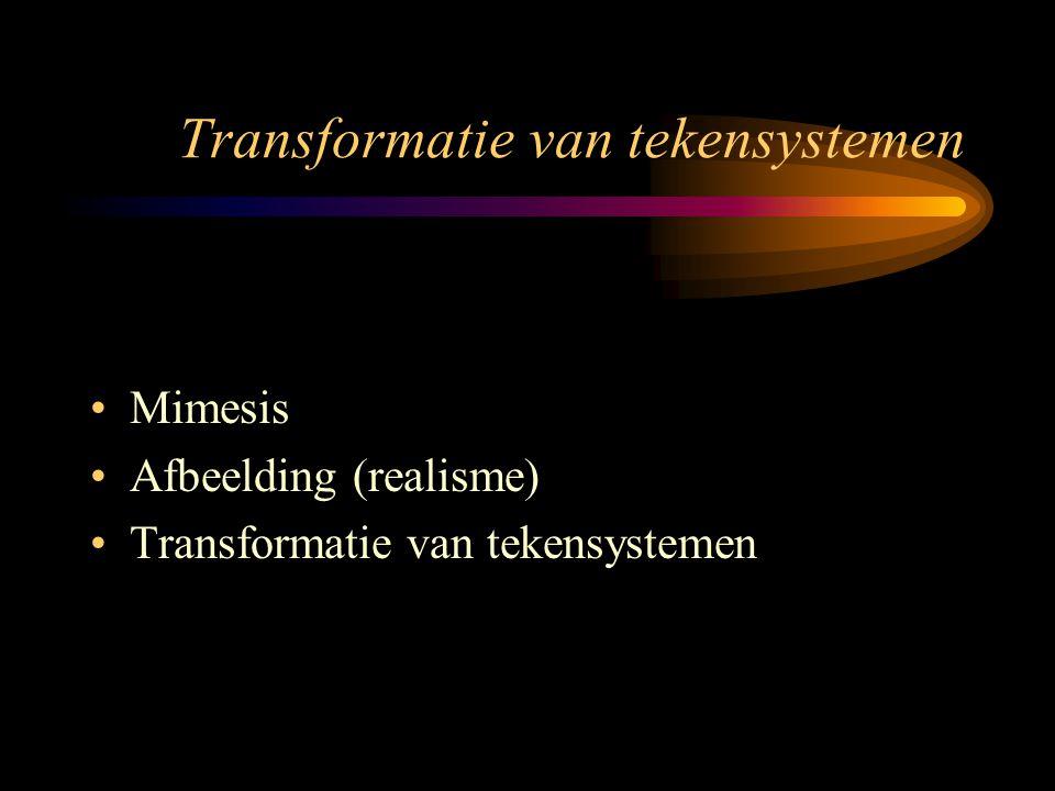 Transformatie van tekensystemen Mimesis Afbeelding (realisme) Transformatie van tekensystemen