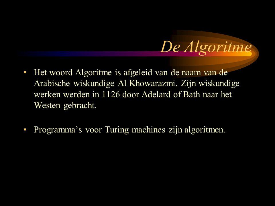 De Algoritme Het woord Algoritme is afgeleid van de naam van de Arabische wiskundige Al Khowarazmi.