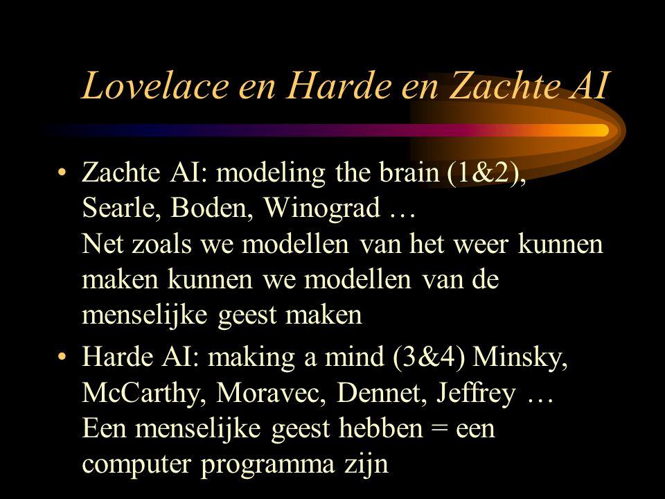 Lovelace en Harde en Zachte AI Zachte AI: modeling the brain (1&2), Searle, Boden, Winograd … Net zoals we modellen van het weer kunnen maken kunnen we modellen van de menselijke geest maken Harde AI: making a mind (3&4) Minsky, McCarthy, Moravec, Dennet, Jeffrey … Een menselijke geest hebben = een computer programma zijn