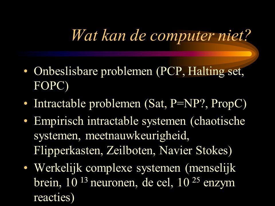 Wat kan de computer niet? Onbeslisbare problemen (PCP, Halting set, FOPC) Intractable problemen (Sat, P=NP?, PropC) Empirisch intractable systemen (ch