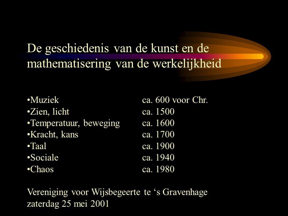 De geschiedenis van de kunst en de mathematisering van de werkelijkheid Muziekca. 600 voor Chr. Zien, lichtca. 1500 Temperatuur, bewegingca. 1600 Krac