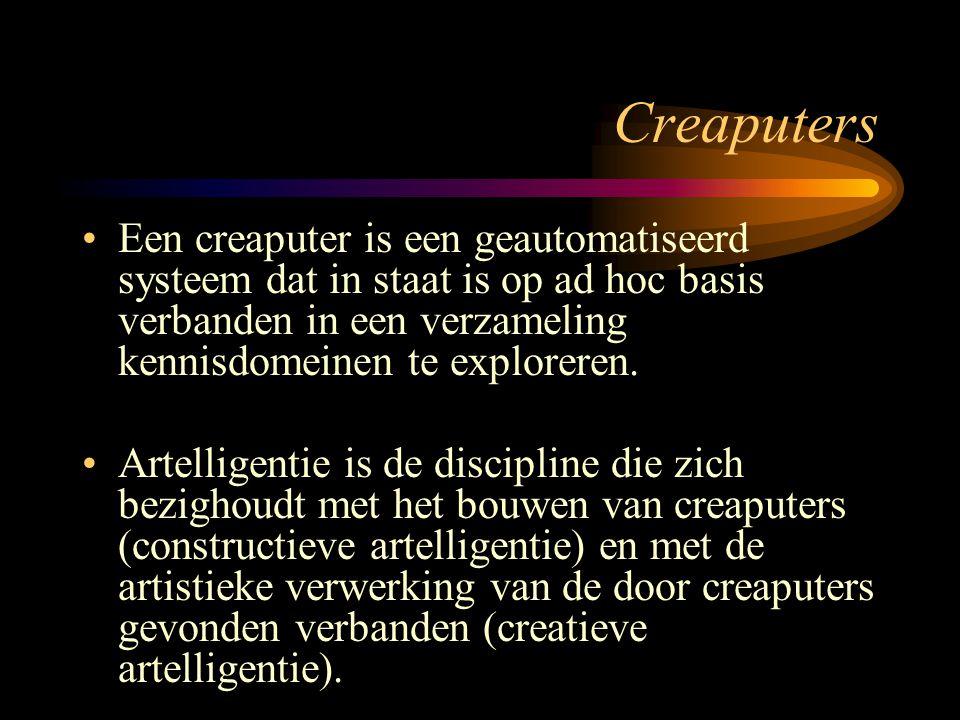 Creaputers Een creaputer is een geautomatiseerd systeem dat in staat is op ad hoc basis verbanden in een verzameling kennisdomeinen te exploreren. Art