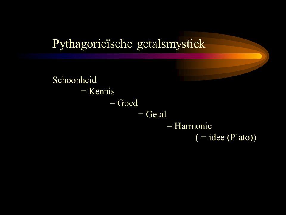 Pythagorieïsche getalsmystiek Schoonheid = Kennis = Goed = Getal = Harmonie ( = idee (Plato))
