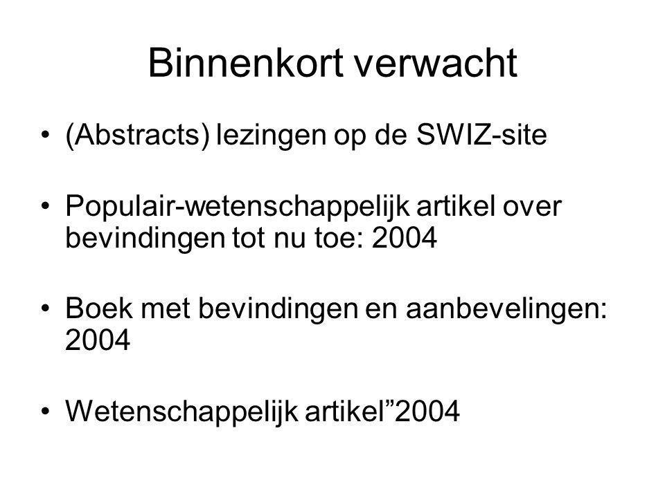 Binnenkort verwacht (Abstracts) lezingen op de SWIZ-site Populair-wetenschappelijk artikel over bevindingen tot nu toe: 2004 Boek met bevindingen en aanbevelingen: 2004 Wetenschappelijk artikel 2004