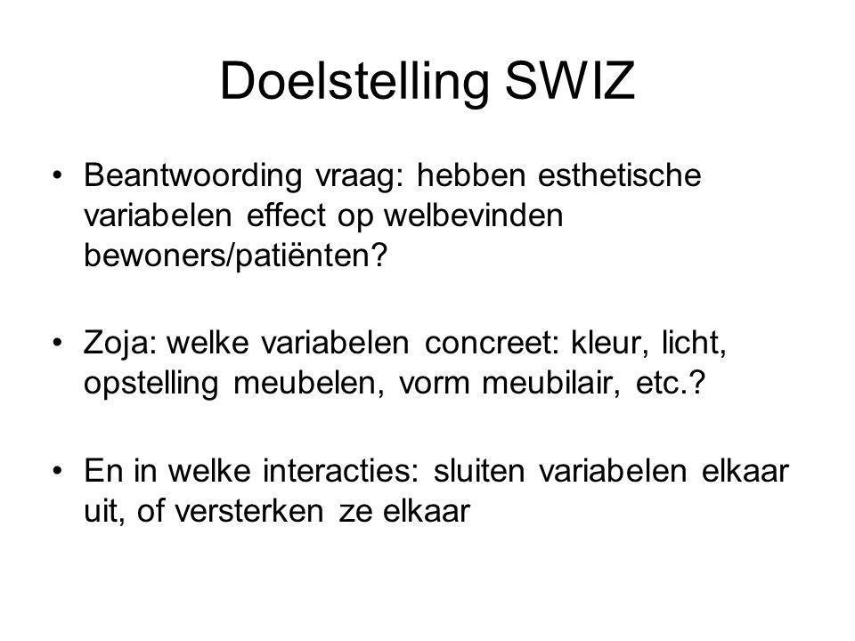 Doelstelling SWIZ Beantwoording vraag: hebben esthetische variabelen effect op welbevinden bewoners/patiënten.