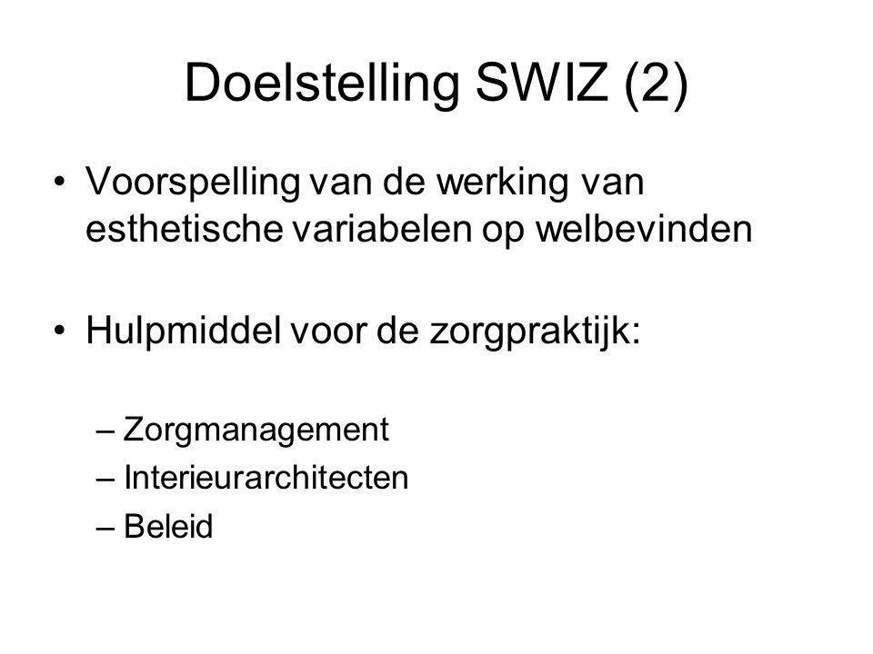 Doelstelling SWIZ (2) Voorspelling van de werking van esthetische variabelen op welbevinden Hulpmiddel voor de zorgpraktijk: –Zorgmanagement –Interieurarchitecten –Beleid