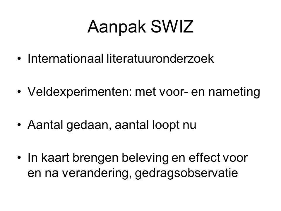 Aanpak SWIZ Internationaal literatuuronderzoek Veldexperimenten: met voor- en nameting Aantal gedaan, aantal loopt nu In kaart brengen beleving en effect voor en na verandering, gedragsobservatie