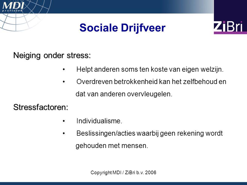 Copyright MDI / ZiBri b.v. 2006 Neiging onder stress: Helpt anderen soms ten koste van eigen welzijn. Overdreven betrokkenheid kan het zelfbehoud en d