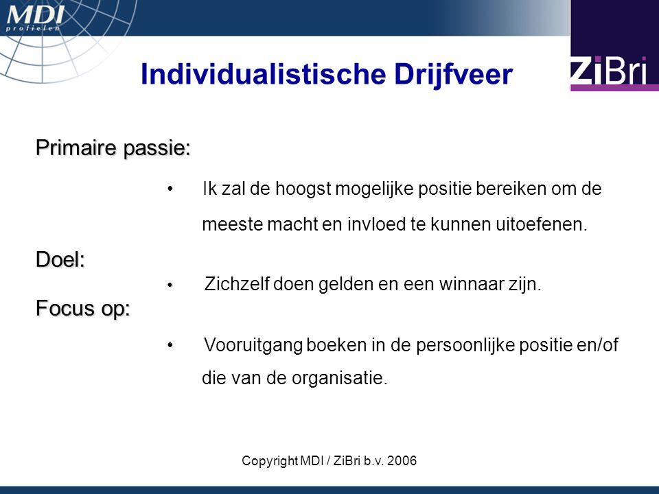 Copyright MDI / ZiBri b.v. 2006 Primaire passie: Ik zal de hoogst mogelijke positie bereiken om de meeste macht en invloed te kunnen uitoefenen.Doel: