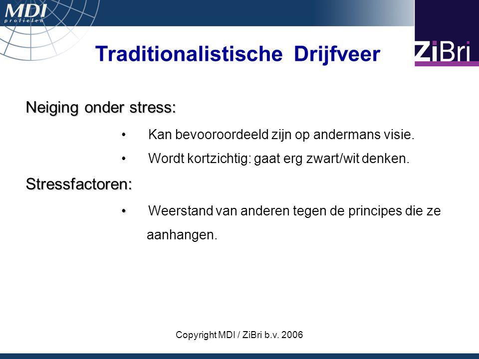 Copyright MDI / ZiBri b.v. 2006 Neiging onder stress: Kan bevooroordeeld zijn op andermans visie. Wordt kortzichtig: gaat erg zwart/wit denken.Stressf