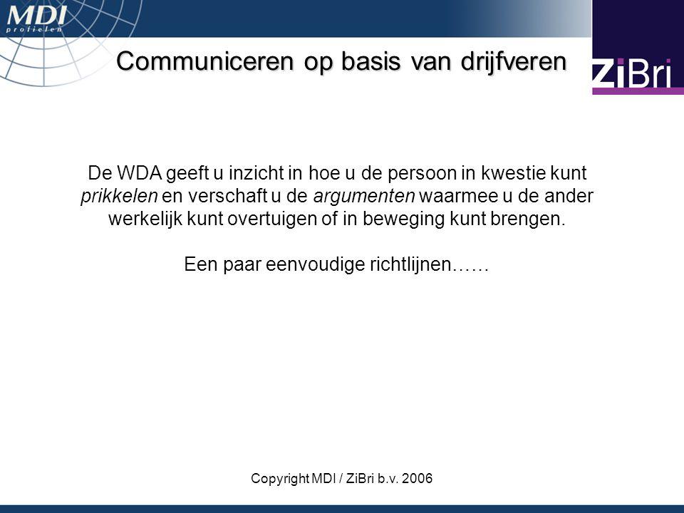Copyright MDI / ZiBri b.v. 2006 Communiceren op basis van drijfveren De WDA geeft u inzicht in hoe u de persoon in kwestie kunt prikkelen en verschaft