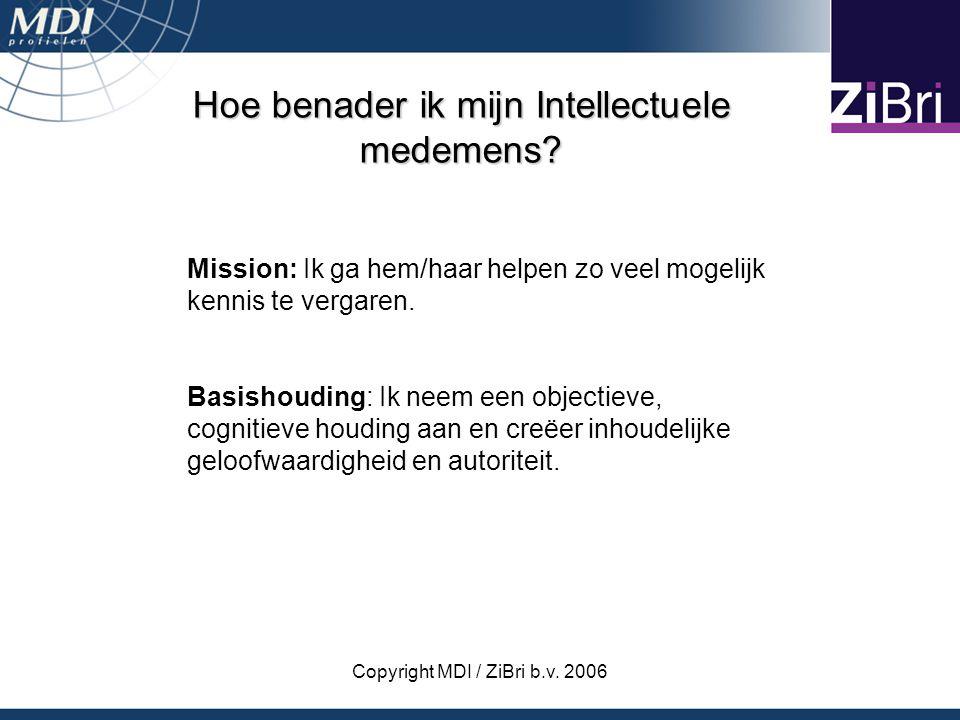Copyright MDI / ZiBri b.v. 2006 Hoe benader ik mijn Intellectuele medemens? Mission: Ik ga hem/haar helpen zo veel mogelijk kennis te vergaren. Basish