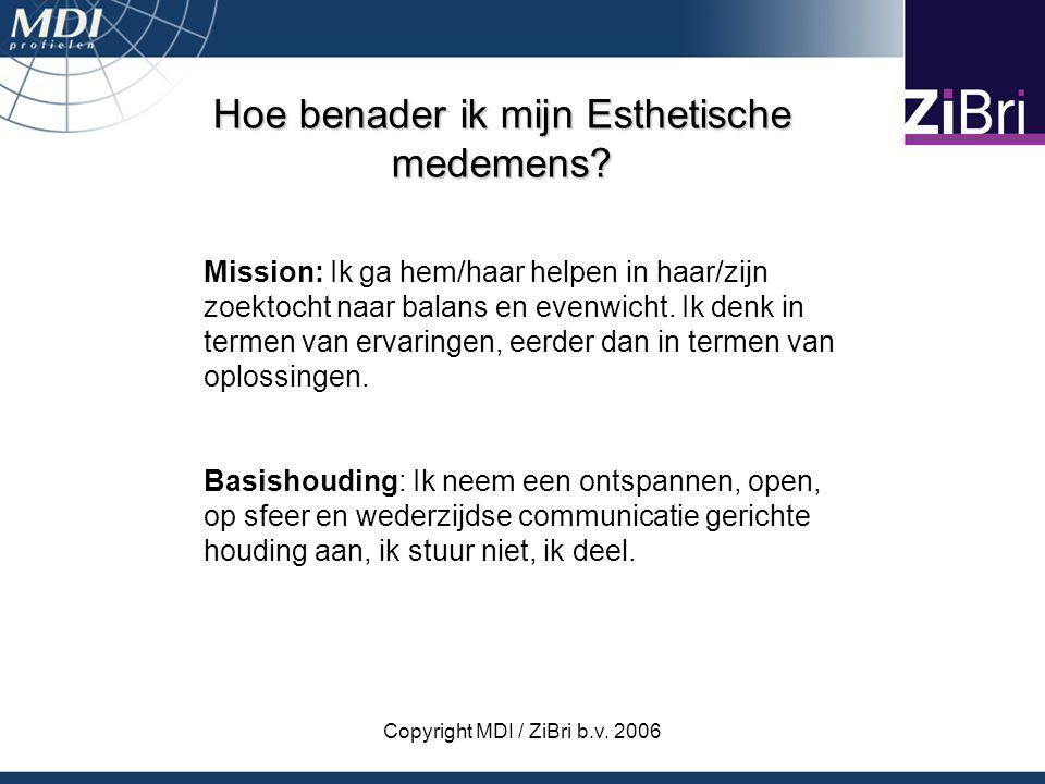 Copyright MDI / ZiBri b.v. 2006 Hoe benader ik mijn Esthetische medemens? Mission: Ik ga hem/haar helpen in haar/zijn zoektocht naar balans en evenwic