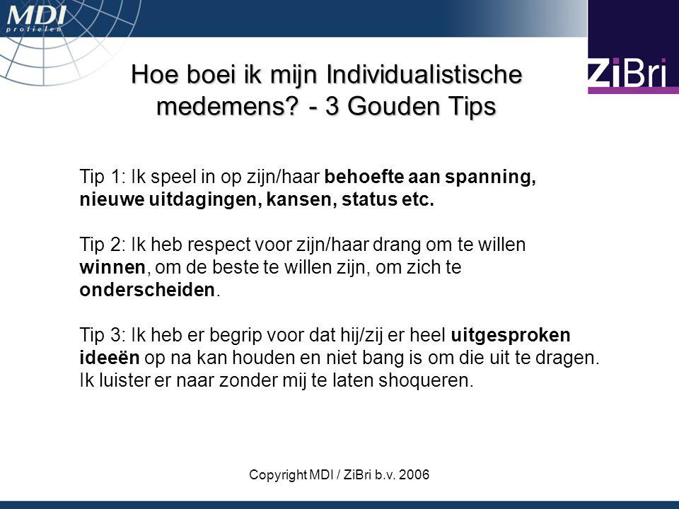 Copyright MDI / ZiBri b.v. 2006 Hoe boei ik mijn Individualistische medemens? - 3 Gouden Tips Tip 1: Ik speel in op zijn/haar behoefte aan spanning, n