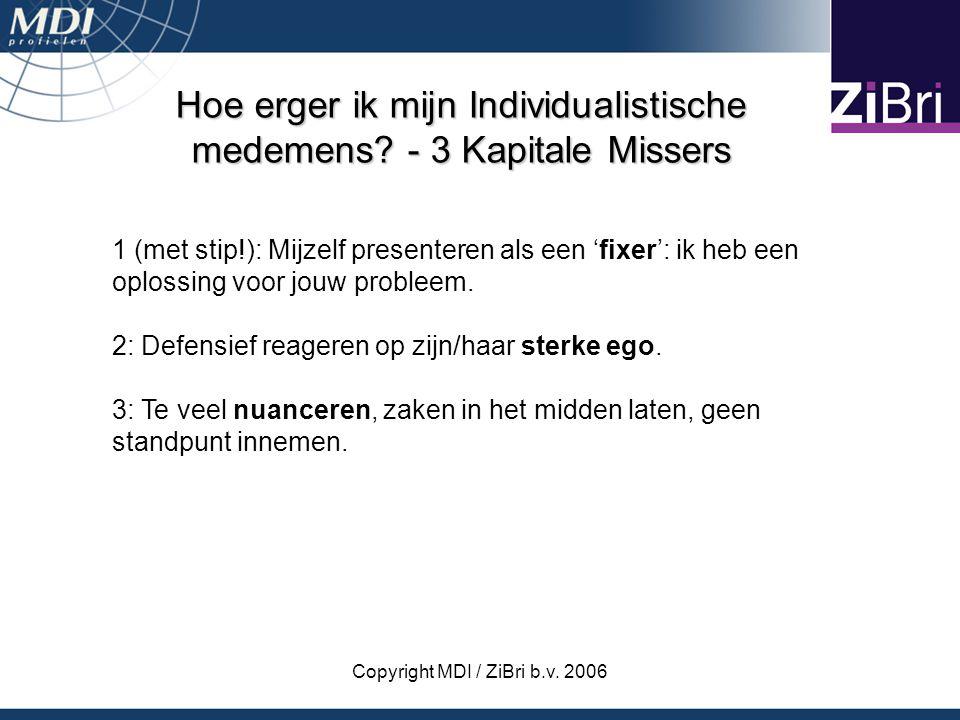 Copyright MDI / ZiBri b.v. 2006 Hoe erger ik mijn Individualistische medemens? - 3 Kapitale Missers 1 (met stip!): Mijzelf presenteren als een 'fixer'