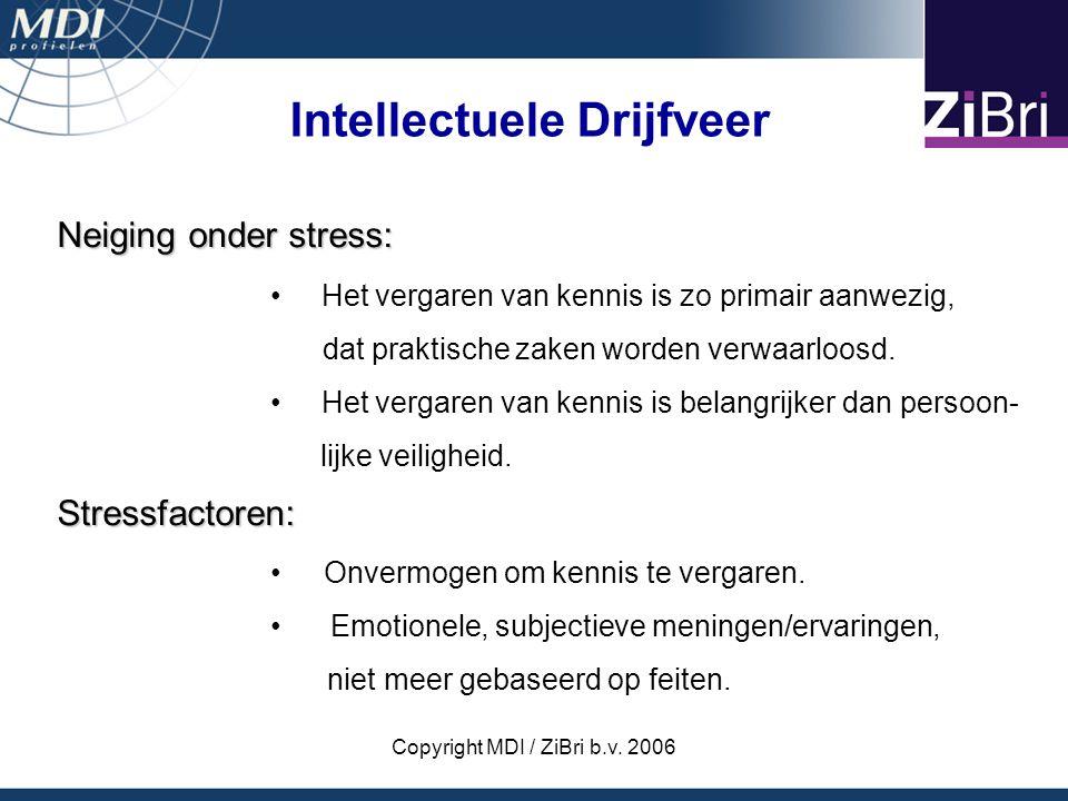 Copyright MDI / ZiBri b.v. 2006 Neiging onder stress: Het vergaren van kennis is zo primair aanwezig, dat praktische zaken worden verwaarloosd. Het ve