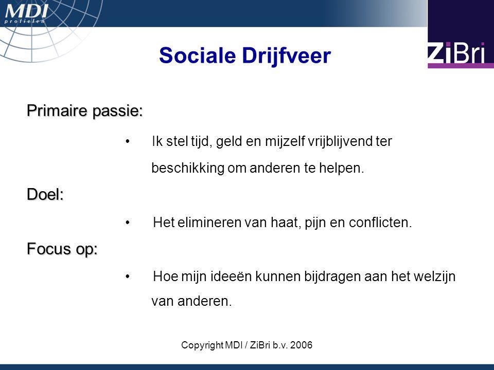Copyright MDI / ZiBri b.v. 2006 Primaire passie: Ik stel tijd, geld en mijzelf vrijblijvend ter beschikking om anderen te helpen.Doel: Het elimineren
