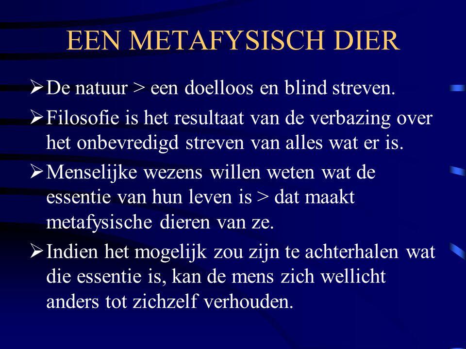 EEN METAFYSISCH DIER  De natuur > een doelloos en blind streven.  Filosofie is het resultaat van de verbazing over het onbevredigd streven van alles