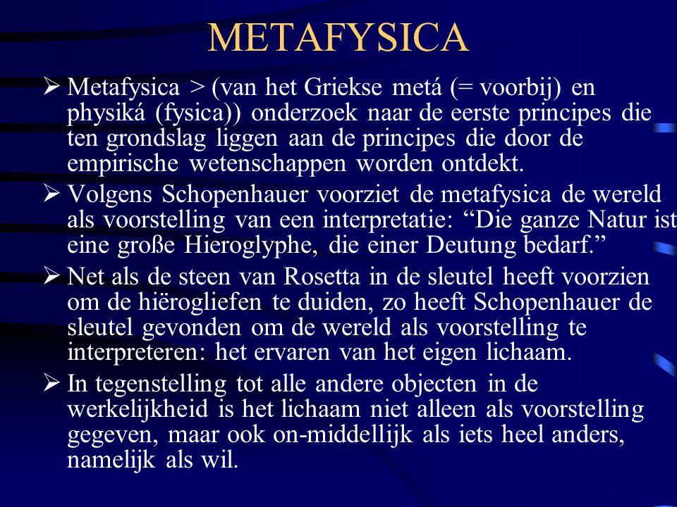 METAFYSICA  Metafysica > (van het Griekse metá (= voorbij) en physiká (fysica)) onderzoek naar de eerste principes die ten grondslag liggen aan de pr