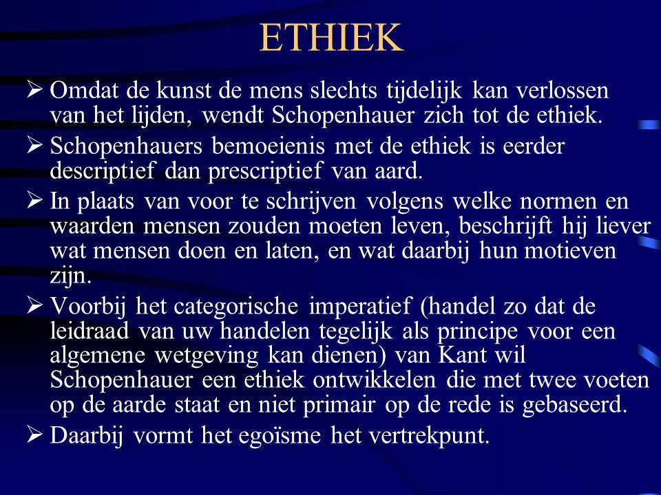 ETHIEK  Omdat de kunst de mens slechts tijdelijk kan verlossen van het lijden, wendt Schopenhauer zich tot de ethiek.  Schopenhauers bemoeienis met