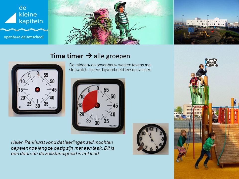 Time timer  alle groepen Alle groepen De midden- en bovenbouw werken tevens met stopwatch, tijdens bijvoorbeeld leesactiviteiten. Helen Parkhurst von