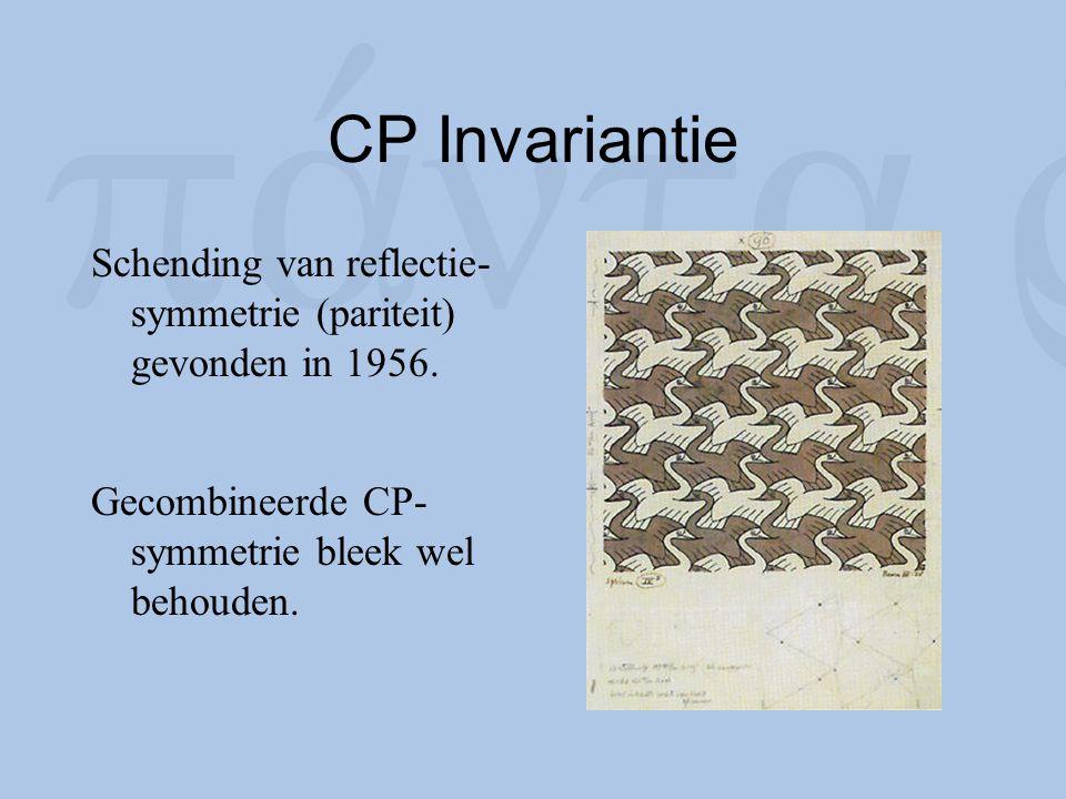 CP Invariantie Schending van reflectie- symmetrie (pariteit) gevonden in 1956. Gecombineerde CP- symmetrie bleek wel behouden.