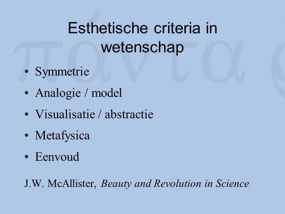 Esthetische criteria in wetenschap Symmetrie Analogie / model Visualisatie / abstractie Metafysica Eenvoud J.W. McAllister, Beauty and Revolution in S