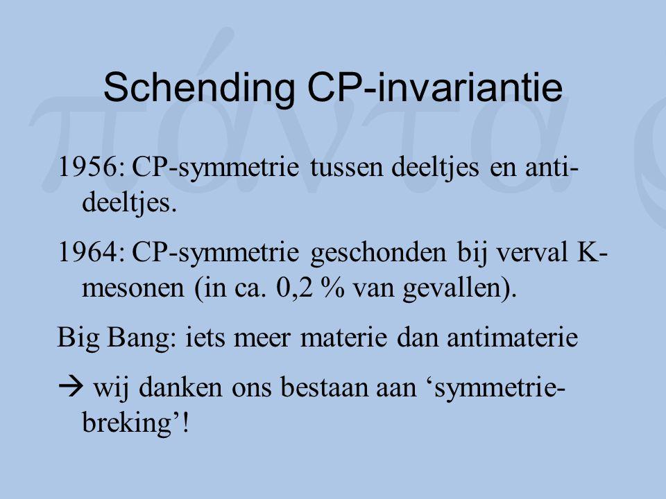 Schending CP-invariantie 1956: CP-symmetrie tussen deeltjes en anti- deeltjes. 1964: CP-symmetrie geschonden bij verval K- mesonen (in ca. 0,2 % van g