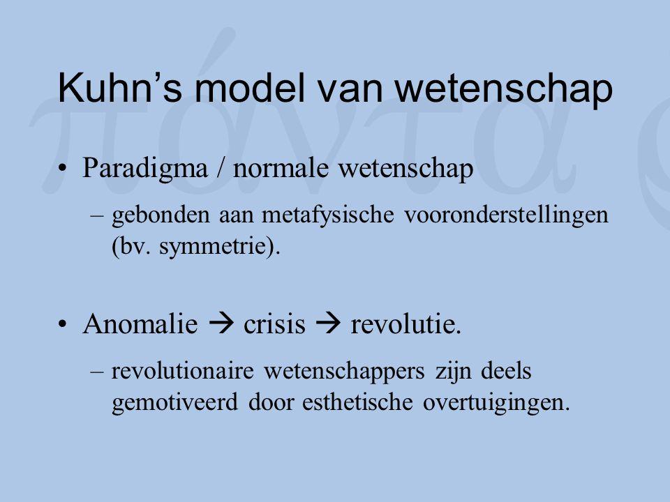 Kuhn's model van wetenschap Paradigma / normale wetenschap –gebonden aan metafysische vooronderstellingen (bv. symmetrie). Anomalie  crisis  revolut